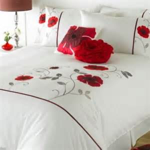 Red Poppy Duvet King Size Red And White Applique Poppy Duvet Set Buy