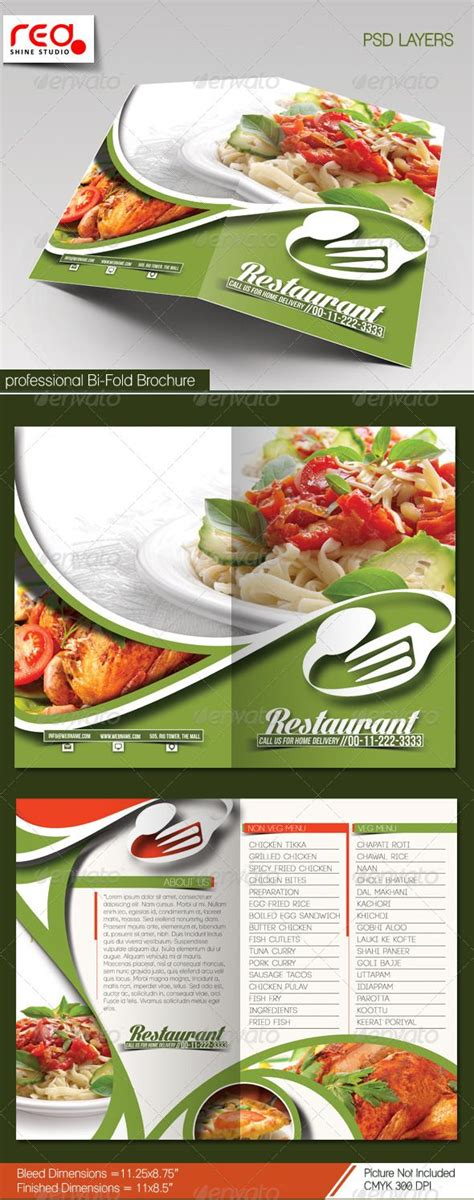 restaurant bi fold brochure template restaurant