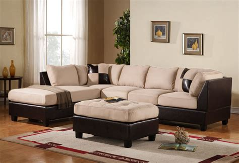 sectional sofas with ottoman 3pc sectional sofa microsuede faux leather beige with
