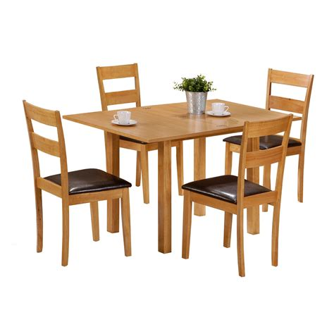 Dining Table Chairs Set Extending Dining Table With 4 Chairs Colorado 60cm 120cm Set Faux Leather Ebay