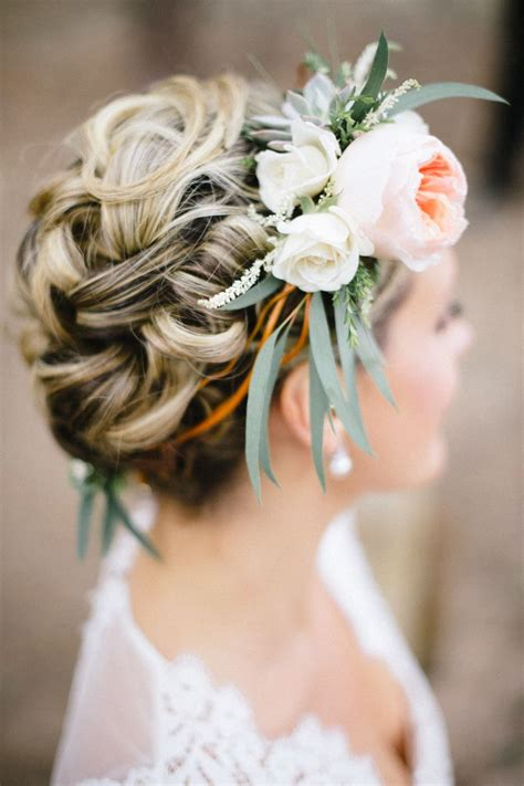the triple braided bun with flower crown hairstyle design page 4 of 397 best bridal updos images on pinterest