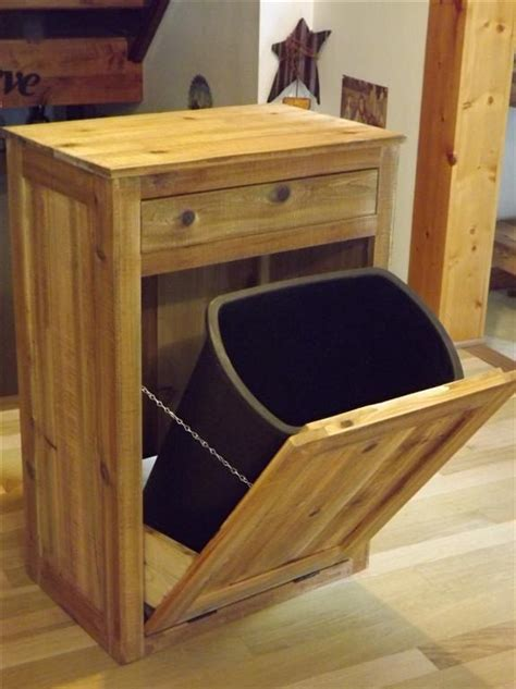 wooden trash can cabinet distressed reclaimed wood crate tilt out trash bin