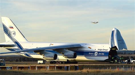 russian cargo plane at billings airport shipping supplies to typhoon devastated island