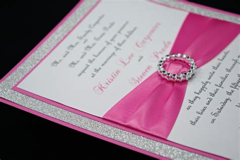 Pink Invitations Wedding by Pink Wedding Invitation Of Bling Sparkle And By