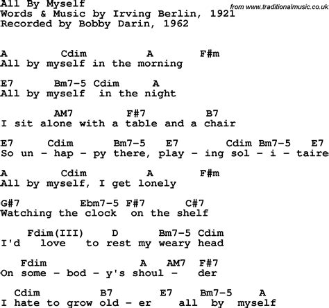 song by song lyrics with guitar chords for all by myself bobby