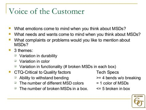 voice of the customer template six sigma study a approach with exle