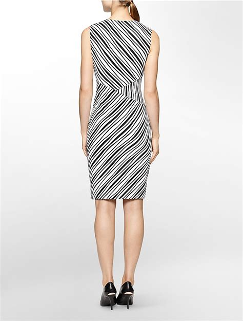 shop calvin klein s stripe trim textured sheath calvin klein womens textured black white stripe sleeveless sheath dress ebay