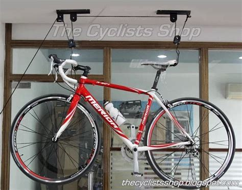 the cyclists shop ceiling hanging bike display