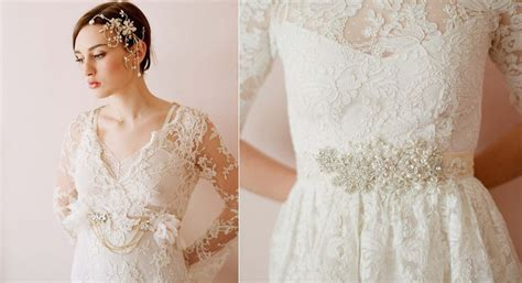 lace wedding dress embellished bridal sash