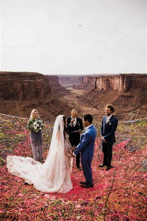 spacenet wedding over a canyon in moab   utah adventure