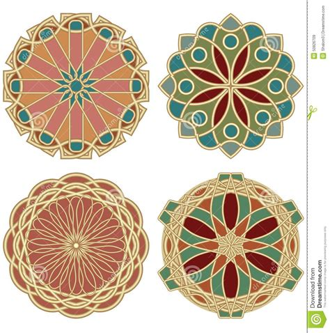 deco colors a set of colored in design of deco stained glass in golden material stock vector