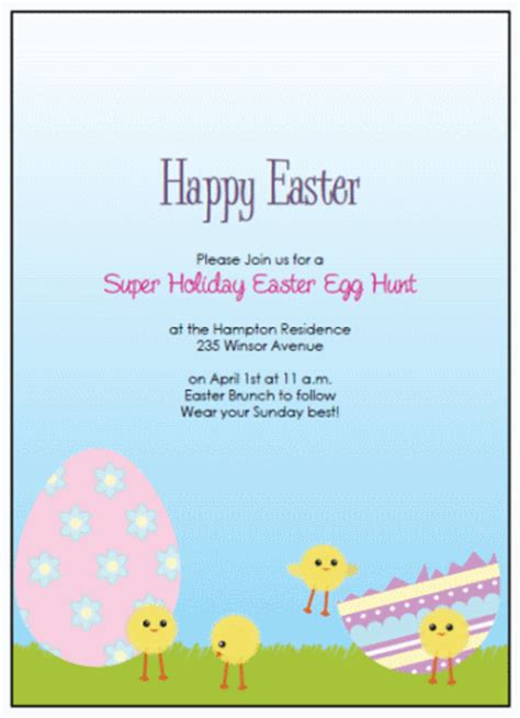 easter invitation template ring printable easter eggs templates