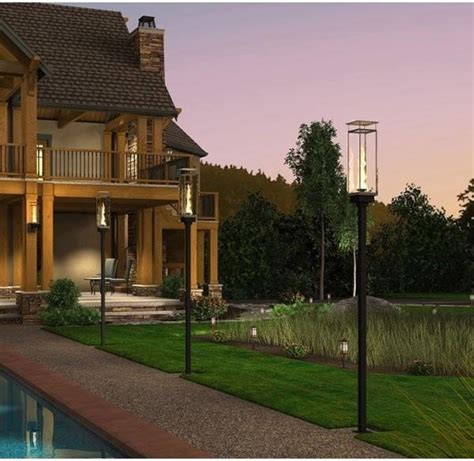 Outdoor Deck Post Lighting Grand Effects Vertical Torch Deck Mount 69 Quot Post Automated 1 Torch System Contemporary