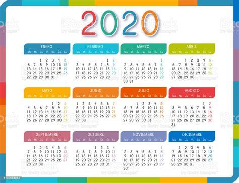 ilustracion de calendario  en idioma espanol sobre fondo blanco colorido calendario  ano