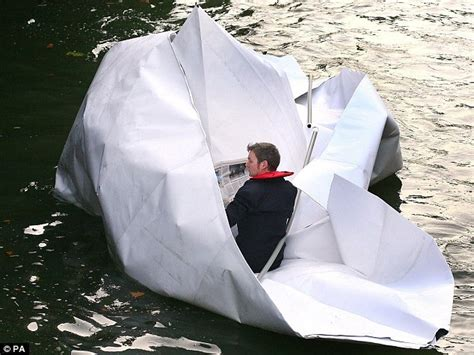 How To Make A River Out Of Paper - artist sails river thames in paper boat amusing planet