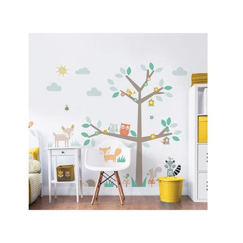 and friends wall stickers walltastic green woodland tree and friends wall stickers wt44647 the home depot