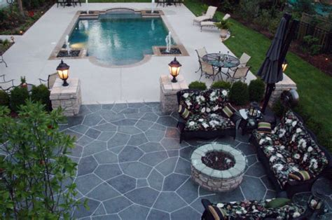 Deck And Stamped Concrete Patio Interior Design Ideas