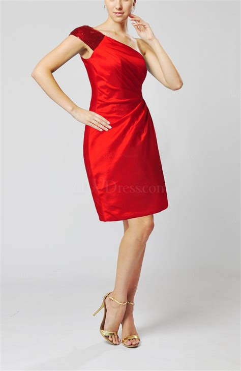www dress red modern column one shoulder sleeveless knee length