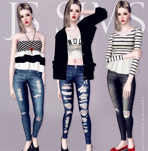sims 3 cc js sims 3 denim ripped jeans js sims