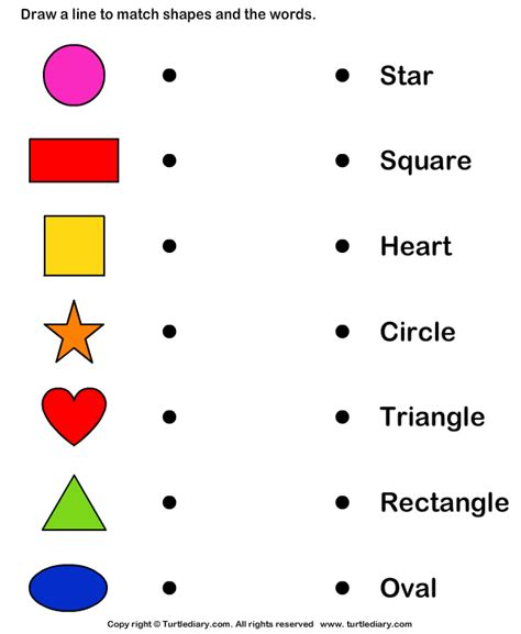 shapes worksheet with names match shapes and names worksheet turtle diary
