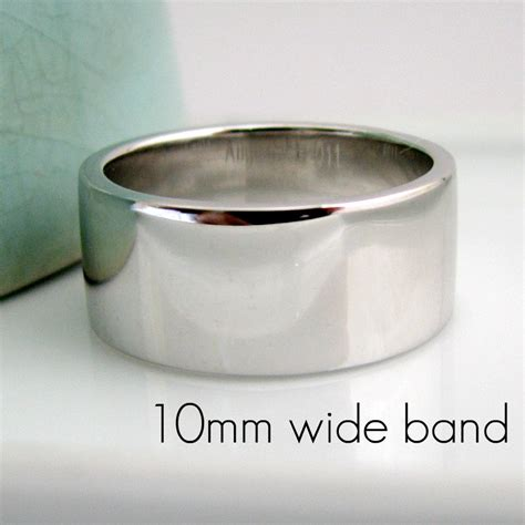 9mm 12mm thick wedding band white gold plated 925