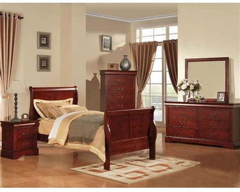 acme furniture bedroom set louis philippe  cherry actset