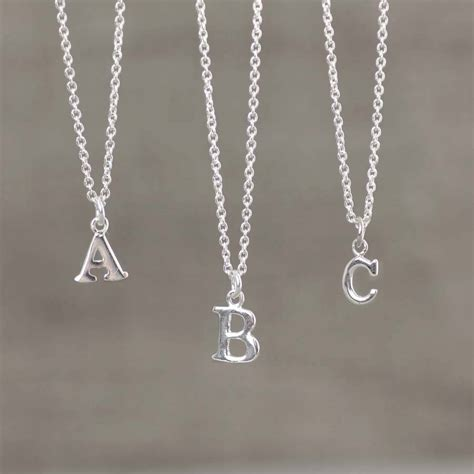Letter Necklace Silver silver initial necklace by hersey silversmiths