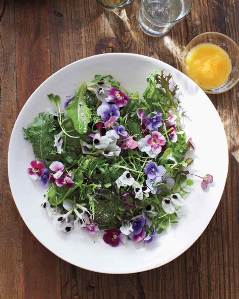 flower food recipe green salad with edible flowers recipe martha stewart