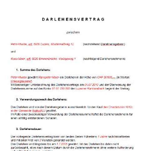 Bewerbungsschreiben Schweiz Muster Darlehensvertrag Vorlage Schweiz Muster Und Vorlagen Kostenlos