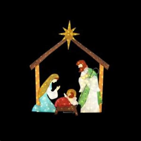 target nativity scene decorations home accents 66 in led lighted tinsel nativity ty762 1614 0 the home depot
