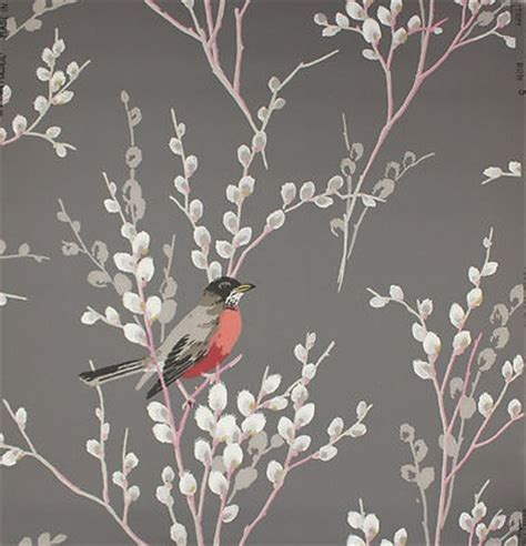 grey wallpaper with birds on red bird songbird on gray vintage wallpaper ebay