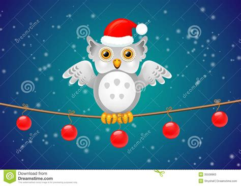 christmas owl   branch   holiday greeting stock vector illustration  santa