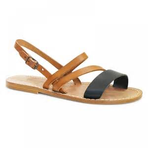 women s flat sandals handmade in tan and black leather