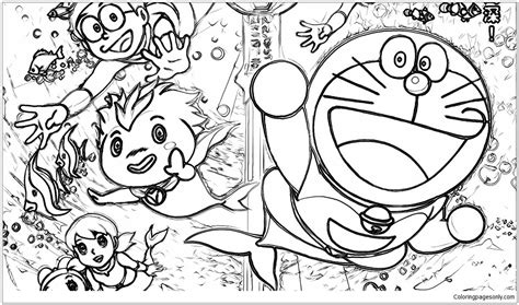 Doraemon And His Friends Under The Ocean Floor Coloring And His Friends Coloring Pages