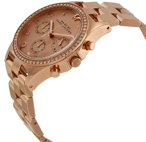 marc jacobs womens henry chronograph rose gold tone dial