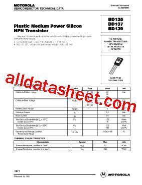 transistor bd139 16 datasheet bd139 datasheet pdf motorola inc