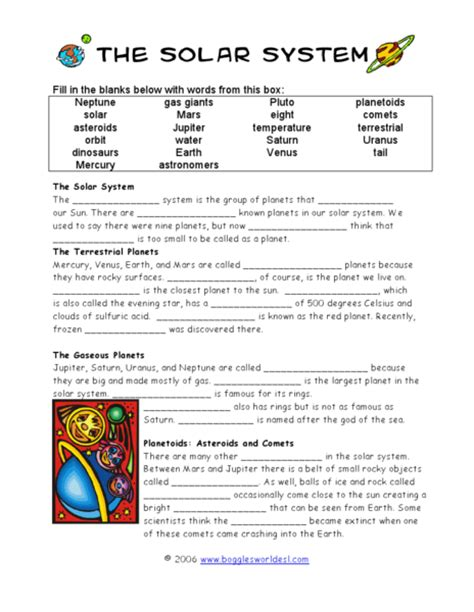 Solar System Worksheet by Solar System Comprehension Worksheets Page 3 Pics