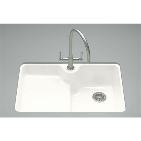 White Cast Iron Kitchen Sink Shop Kohler Carrizo 22 In X 33 In White Single Basin Cast Iron Undermount 1 Commercial
