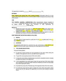 employee vehicle use agreement template vehicle lease template 5 free word pdf documents