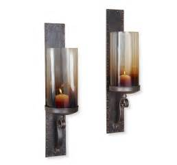 Candle Sconces Pair Kendall Hammered Iron Lodge Rustic Hurricane Candle