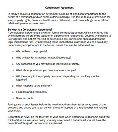 cohabitation agreement template free cohabitation agreement 7 free sles exles format