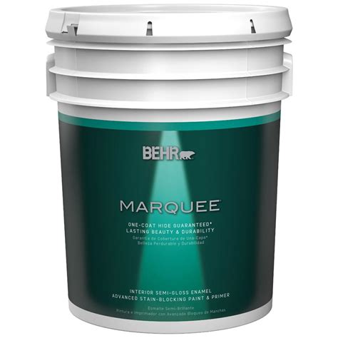 behr marquee 5 gal ultra white semi gloss enamel one coat hide interior paint and primer