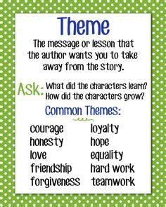 theme definition english exles 1000 images about theme reading anchor charts on