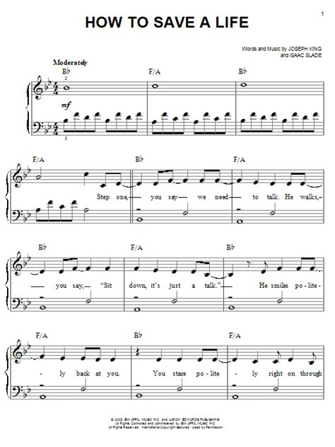 tutorial piano how to save a life how to save a life sheet music by the fray easy piano
