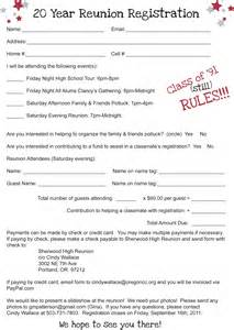 class registration template registration form sherwood high school class of 91