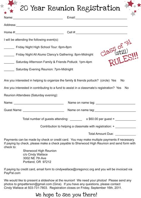 high school registration form template family reunion registration template pictures to pin on