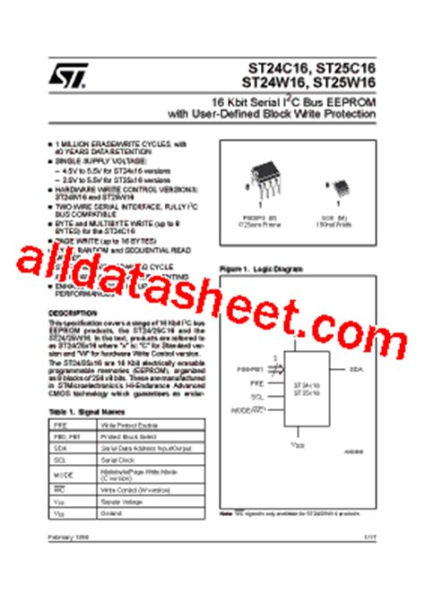 datasheet transistor smd 24 24c16 fiche technique pdf stmicroelectronics