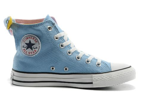 light blue high tops converse all light blue bowknot