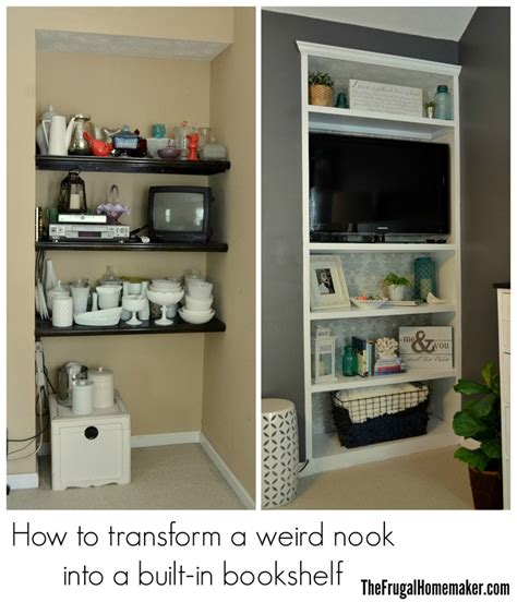 how to build a built in bookshelf before after