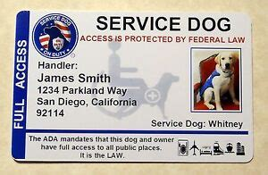 Custom Id Card Badge For Service Dog Working Dog Assistance Animal Id Tag 8 Ebay Emotional Support Animal Id Card Template